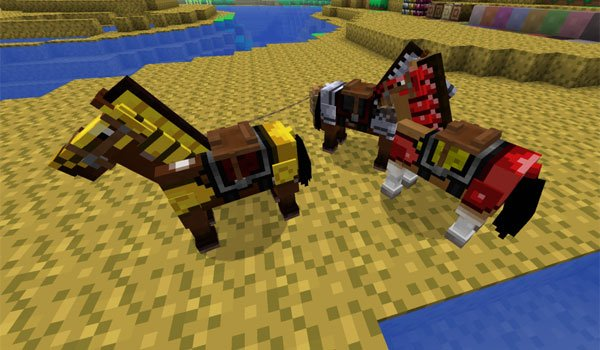 image where we see two horses decorated with textures of terraria texture 1.6.2