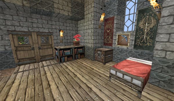 picture of the inside of a house, decorated with textures Chroma Hills RPG 1.9 and 1.8.