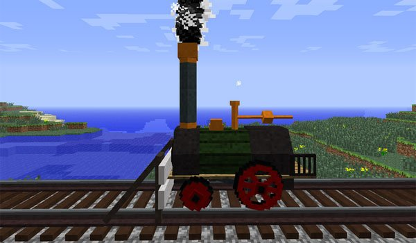 image where we can see the design of the mod added locomotive Rails of War 1.12.2 and 1.7.10.