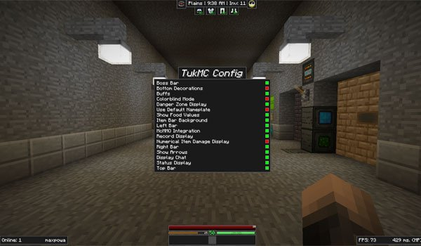 image where we can see the appearance of the new user interface that can be used with the mod TukMC 1.6.2 and 1.6.4