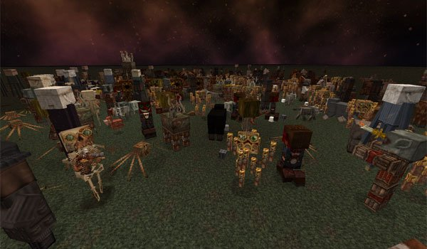 image where we see the appearance of the mobs of Minecraft, using broken anachronism 1.7 textures.