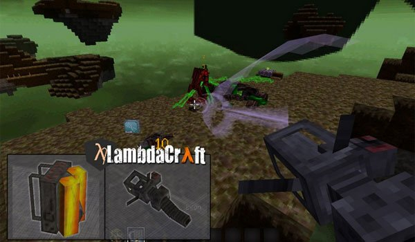 image where you can see one of the weapons the mod lamdacraft adds.