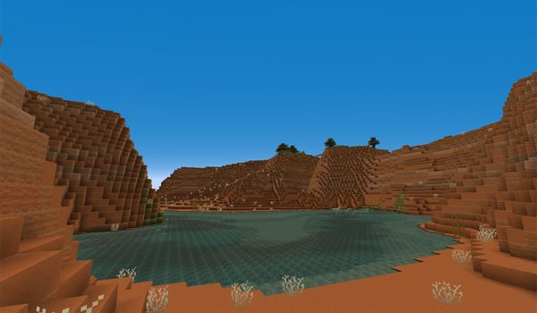 """image the """"Mesa"""" biome of Minecraft, decorated with textures pixel reality 1.13, 1.12 and 1.11."""