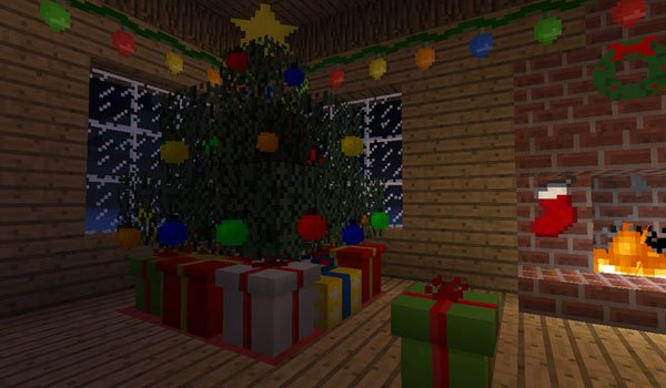 Christmas tree with gifts and Christmas decorations mod ChrismasCraft 1.6.4.