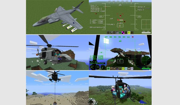 image where we can see the planes and helicopters that adds mod mc helicopter 1.7.10.