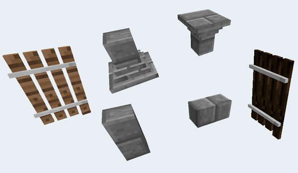 image of various decorative elements to use in Minecraft, with minedeco mod 1.7.2.