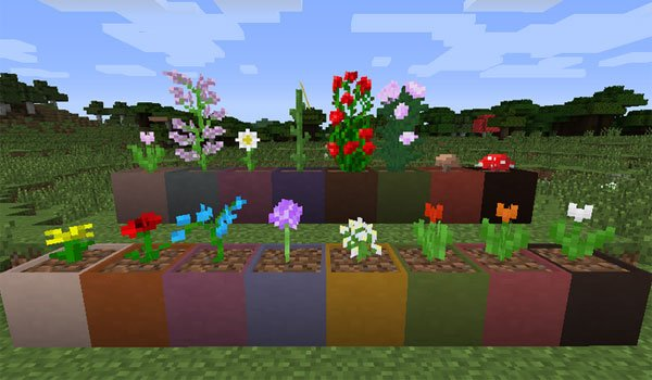 image where we see the many pots of various colors that add the modular flower pots 1.7.10.