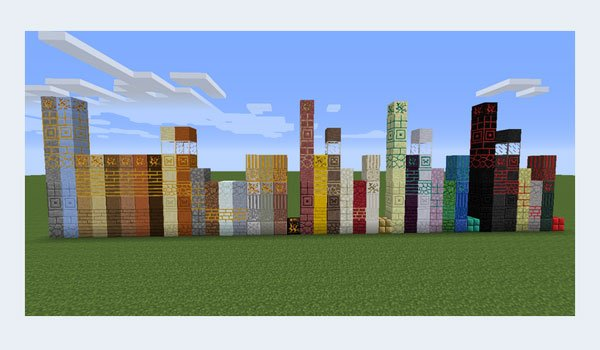 image where we see the blocks after adding the more materials mod 1.11, 1.10.2 and 1.9.4.