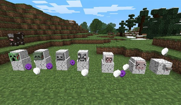 image where we see various animals captured by the Spider Queen Mod 1.7.2 and 1.7.10.