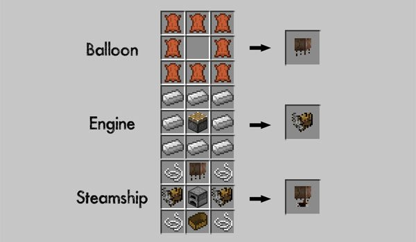 image where we see the recipes for making objects Pchan3's Airship mod 1.7.2 and 1.7.10.