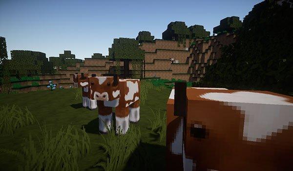 imagen donde vemos el aspecto del terreno y de las vacas, usando el paquete de texturas flows hd 1.10 and 1.9.