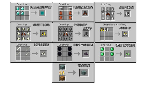 image we see recipes for items that can be created with the mod mo ' boots 1.7.10.