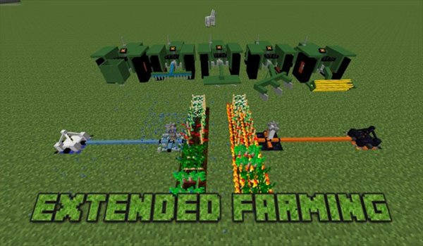 image we see tractors and other agricultural tools. Added by the extended farming mod 1.7.10.