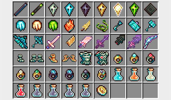 image we see all objects adds god's weapons mod 1.10.2, 1.9.4 and 1.7.10.
