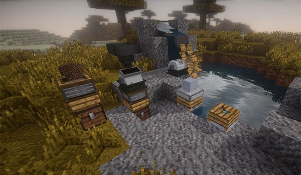 image where you can see some of the machines and objects that adds the subsistance mod 1.7.10.