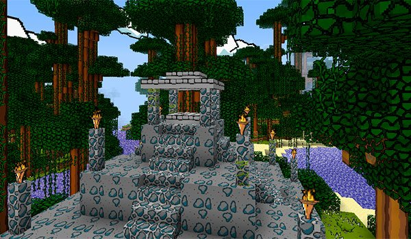 picture of a temple in the jungle of Minecraft, decorated with The Scribblenauts Texture Pack 1.10, 1.8 and 1.7.