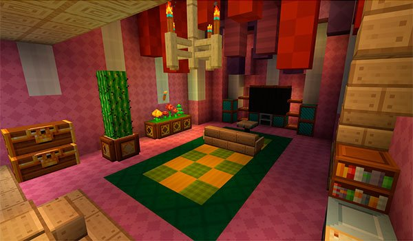 image of the interior of a dwelling, decorated with the textures Frend's Meringued Cartoon Texture Pack 1.9, 1.8 and 1.7.
