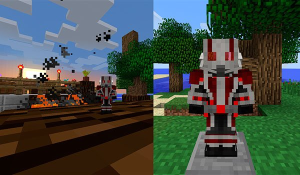 Image Where we see the Ant-Man armor and a player in miniature, with the antman mod 1.8.9 and 1.7.10.