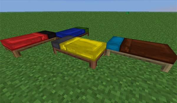 picture where we see four beds with sheets and pillows of different colors, thanks to the bed craft and beyond mod 1.10.2, 1.9.4 and 1.8.9.