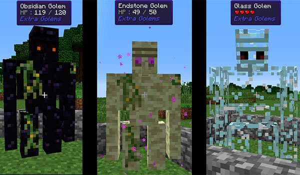 image where we can see three types of new golems, developed with extra golems mod 1.15.2, 1.14.4 and 1.12.2.