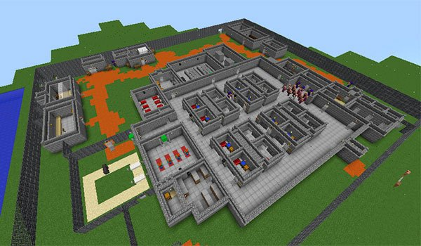 aerial image of the prison where our character is being held Minecraft.