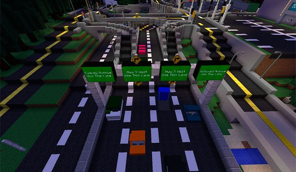 picture where we see a road with several vehicles in Minecraft, thanks to the vehicular movement mod.
