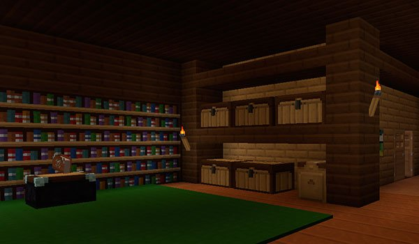 icture of the inside of a house with shelves and chests. All decorated with textures xenocontendi 1.8 and 1.7.