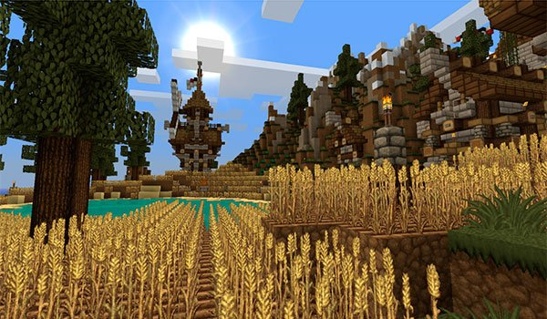 picture where we see a field of grain and a village.