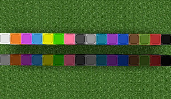 picture where we see different variations of colors for lamps added by this mod.